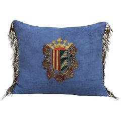 19th Century Royal Crest Linen Pillow