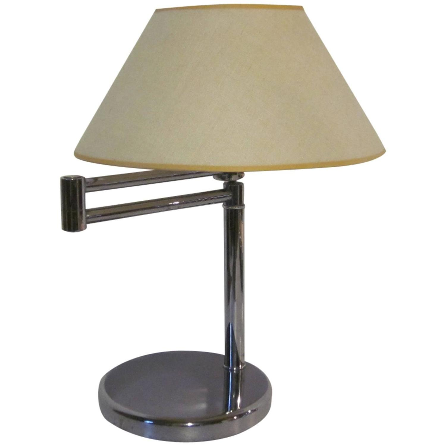 nessen chrome swing arm table lamp for sale at 1stdibs. Black Bedroom Furniture Sets. Home Design Ideas