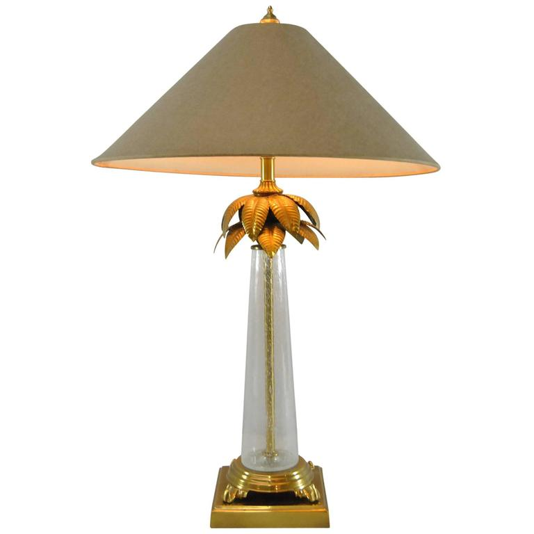 handblown glass and brass palm tree table lamp by frederick cooper for. Black Bedroom Furniture Sets. Home Design Ideas