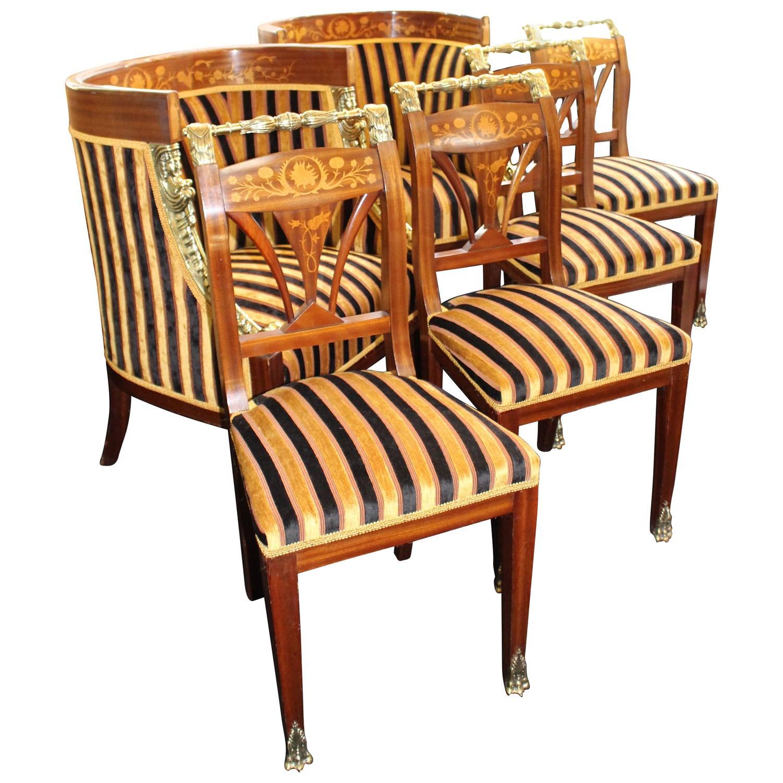 Inlaid Mahogany Upholstered Drawing Room Suite Circa 1900