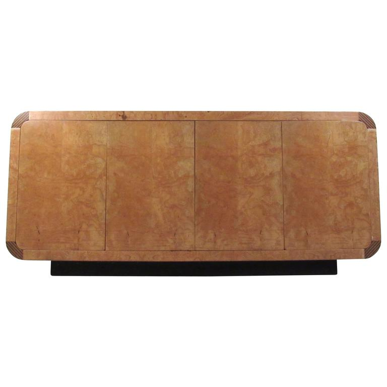 Mid-Century Modern Burl Wood Credenza by Henredon For Sale