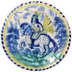 English Delftware Dash Pottery Charger with Equestrian Figure, Late 17th Century