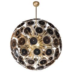 Outstanding Modernist Vistosi Disc Sputnik Chandelier with Black and Clear Discs