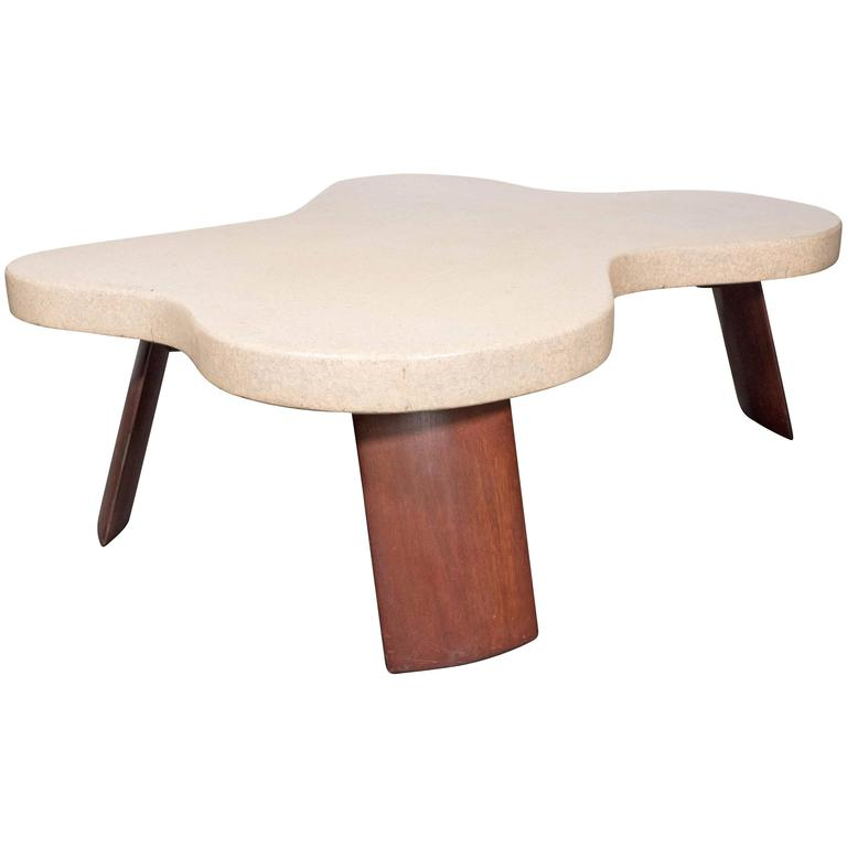 """Iconic Mid-Century Modernist """"Amoeba"""" Cork-Top Cocktail Table by Paul Frankl"""