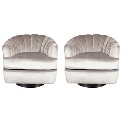 Pair of Mid-Century Modernist Channel Back Swivel Chairs by Milo Baughman