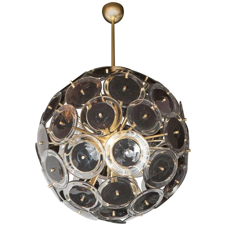 Sophisticated Modernist Vistosi Disc Sputnik Chandelier with Black & Clear Discs