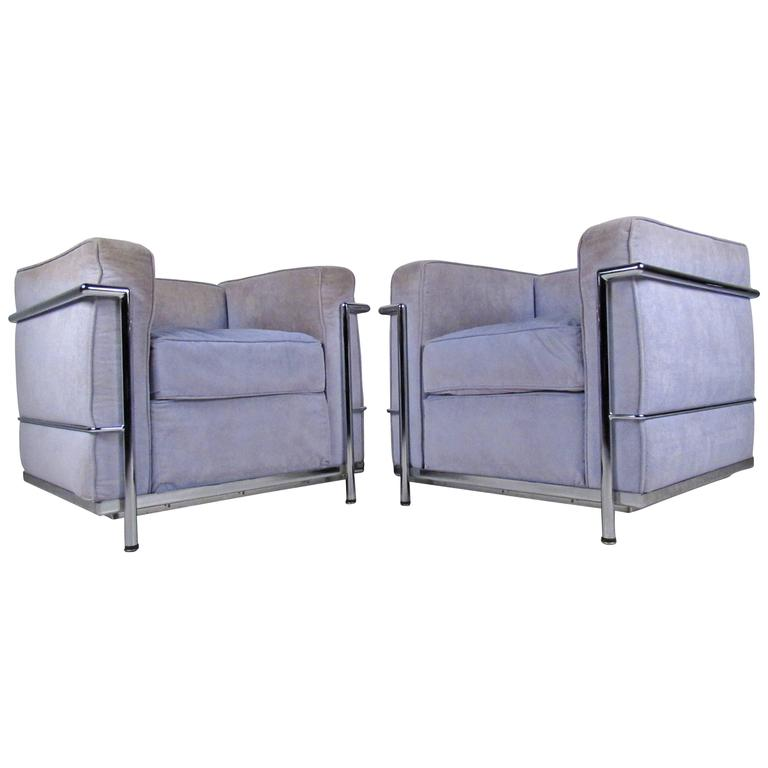 Pair of Vintage Modern Le Corbusier Style Lounge Chairs