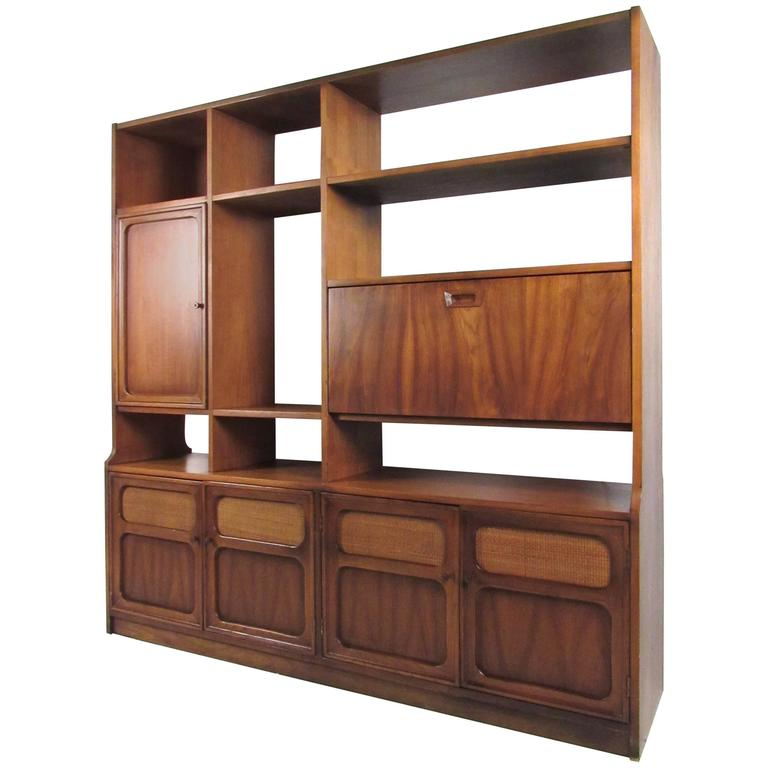Midcentury American Walnut Wall Unit Bookshelf