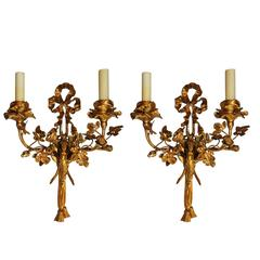 Wonderful Pair of Caldwell Dore Bronze Ribbon Tassel Floral Putti Cherub Sconces