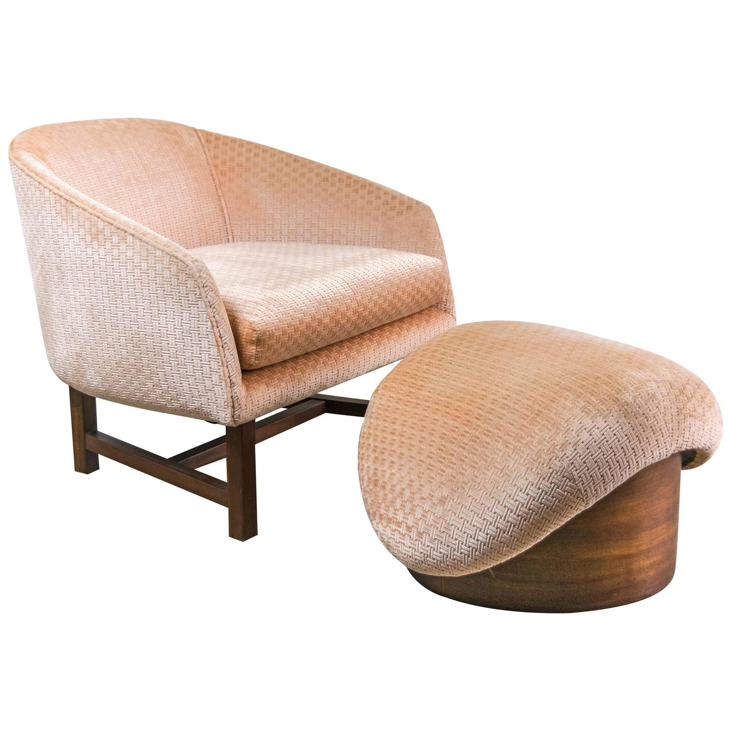 Mid century modern reading chair and ottoman at 1stdibs for Contemporary furniture chairs