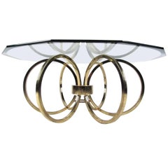 Vintage Modern Coffee Table with Octagonal Bevelled Glass Top