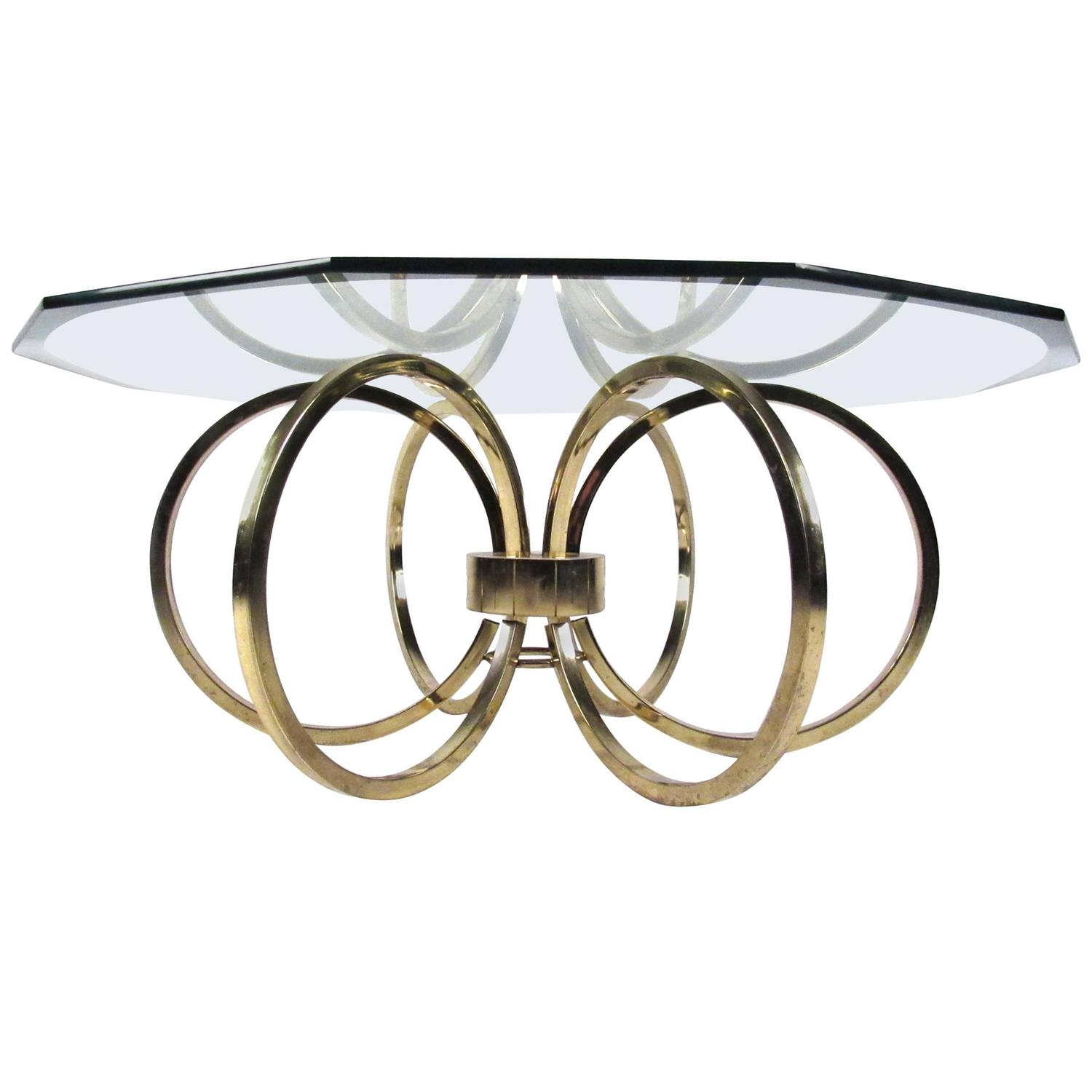 Elegant Glass And Metal Coffee Table: Elegant Mid-Century Modern Beveled Glass Coffee Table For