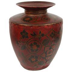 Kashmiri Indo-Raj Red Hand-Painted Metal Jar Vessel