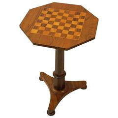 19th Century Rosewood Games Table with Inlaid Checkerboard Top