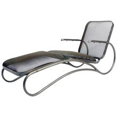 Sculptural 1950s Mesh Outdoor Chaise Lounge