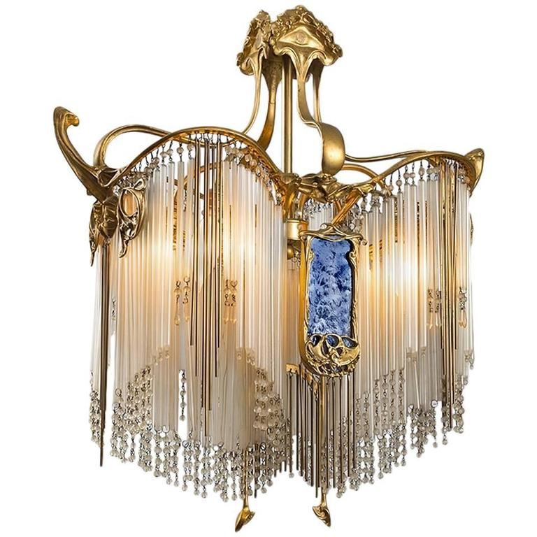 French Art Nouveau Boudoir Chandelier by Hector Guimard