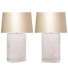 Pair of Modern Block Form Rock Crystal Lamps