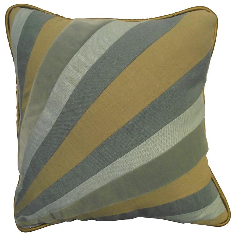 Throw Pillow Out of Blue Velvet and Linen Fabric Diagonal Stripe For Sale at 1stdibs