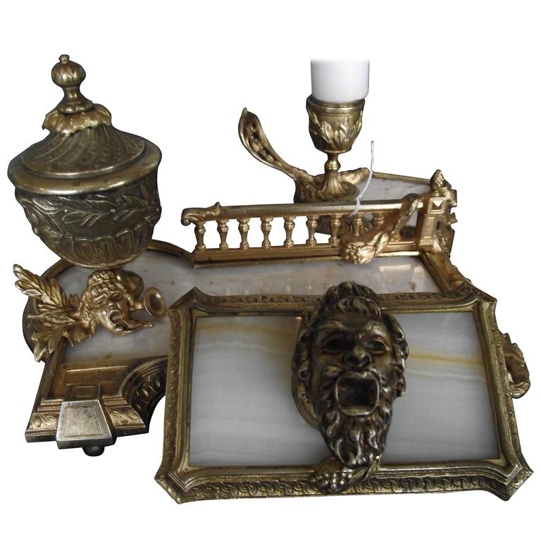 Antique Ink Well Set Solid Brass Marble Desk Gifts For Men