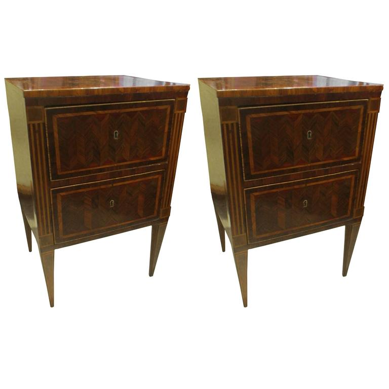 Fine Pair of Antique Italian Neoclassic Parquetry Nightstands 1