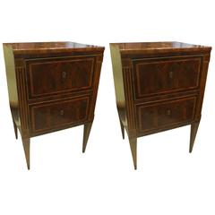 Fine Pair of Antique Italian Neoclassic Parquetry Nightstands