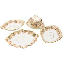 Set of Four Derby Dishes with Two Bowls, Platter and Tureen with Underplate
