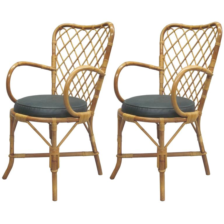 Two French Mid-Century Rattan Side or Desk Chairs Attributed to Jean Royère 1