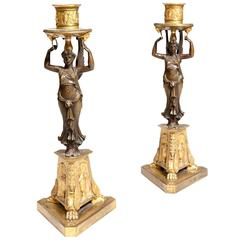 Pair of Bronze and Ormolu French Empire Candlesticks