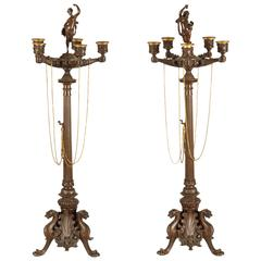 Pair of French Bronze Gothic Revival Candlesticks