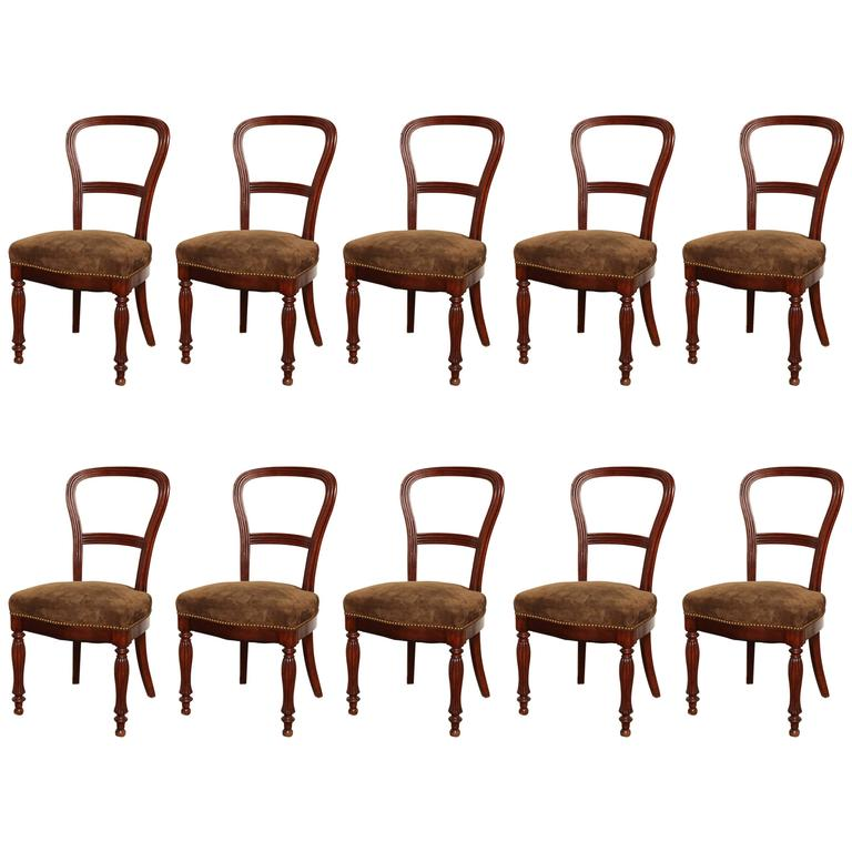 Set of Ten Mid-19th Century Irish Mahogany Dining Chairs