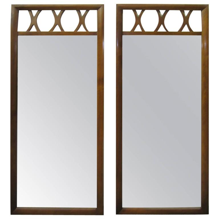 Handsome Pair of Lattice Top Walnut Mirrors American Mid-Century Modern For Sale
