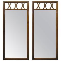 Handsome Pair of Lattice Top Walnut Mirrors American Mid-Century Modern