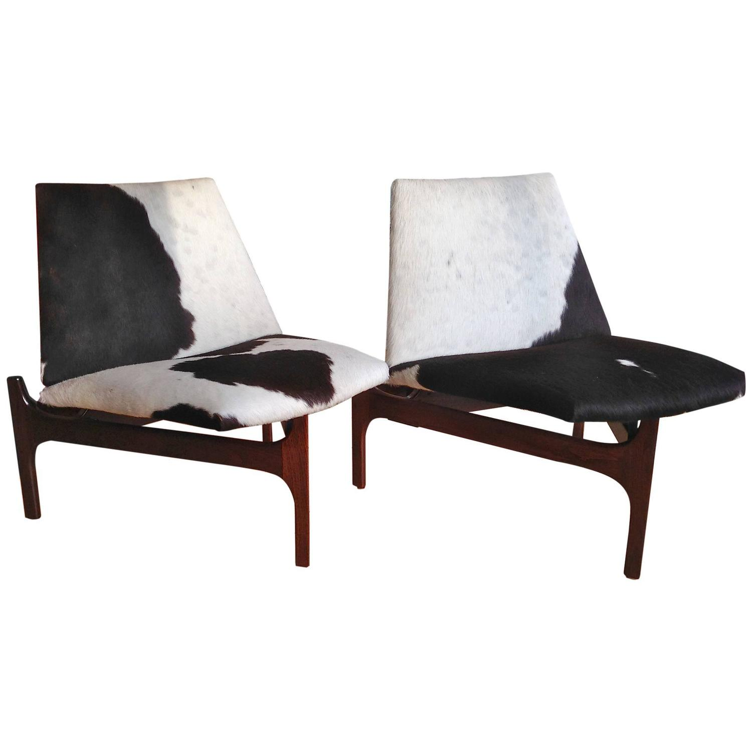 Sculptural Low Lounge Chairs With Cowhide Upholstery For