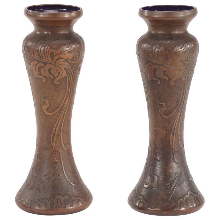 Pair of Signed Val Saint Lambert Amethyst Art Nouveau Vases with Bronze Patina  For Sale