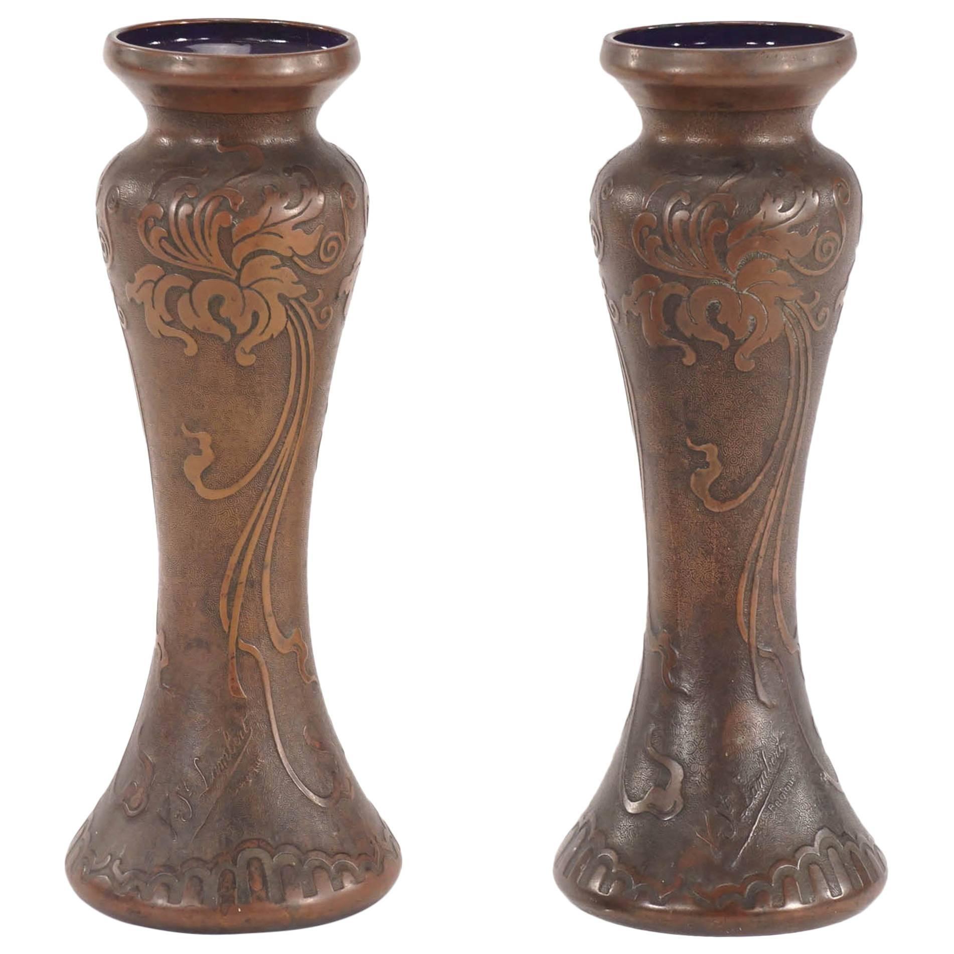 Pair of Signed Val Saint Lambert Amethyst Art Nouveau Vases with Bronze Patina
