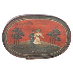 Antique Originally Painted Swedish Wood Container, circa 1840-1860