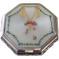 Sterling Silver and Enamel Octagonal Box with Gilt Interior and Decorated Sides