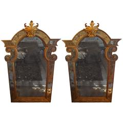 Rare Pair of Antique Early 19th Century Venetian Giltwood Mirrors
