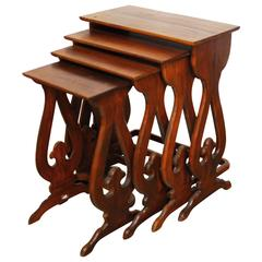 Set of Four Carved Chinese Nesting Tables