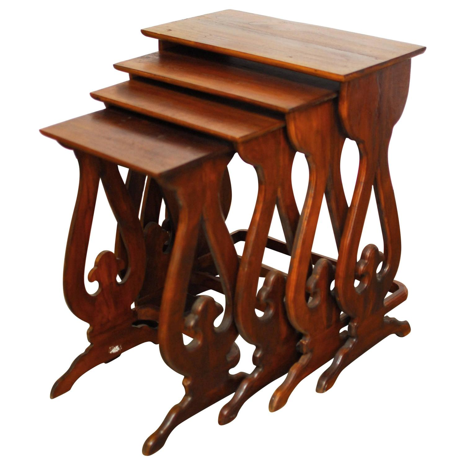 Beau Set Of Four Carved Chinese Nesting Tables