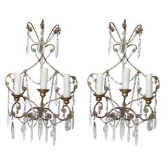 Italian Midcentury Beaded Crystal Sconces