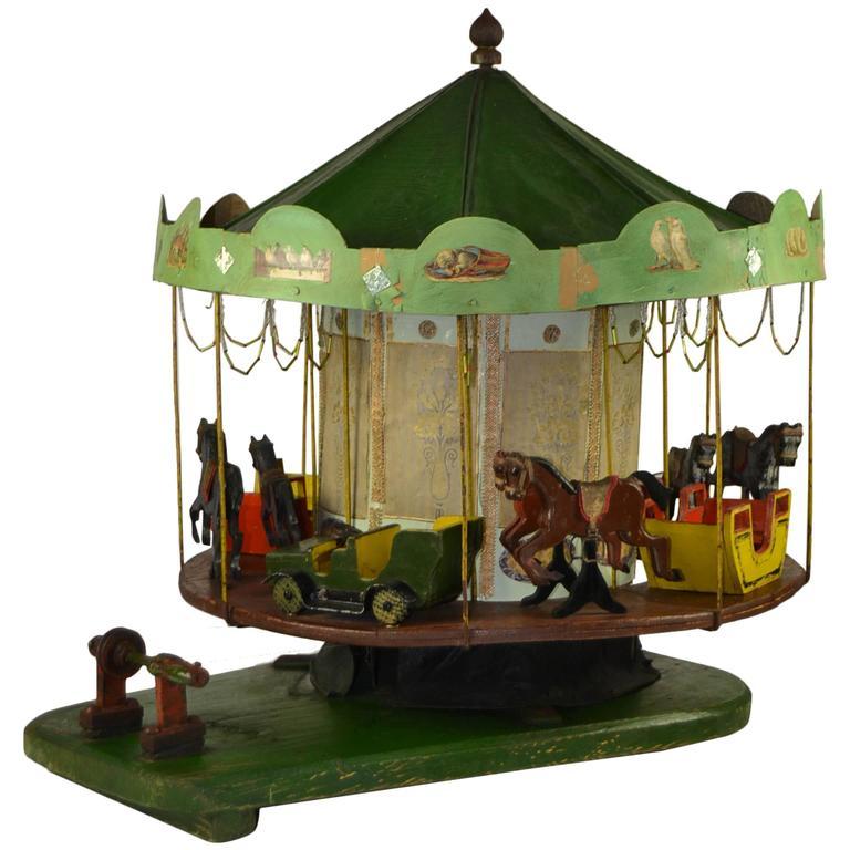 Antique wooden Folk Art Merry-Go-Round, Carousel Scale Model