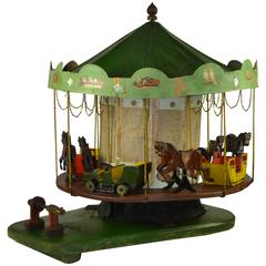 Antique wooden Folk Art Merry-Go-Round, Carousel Scale Model