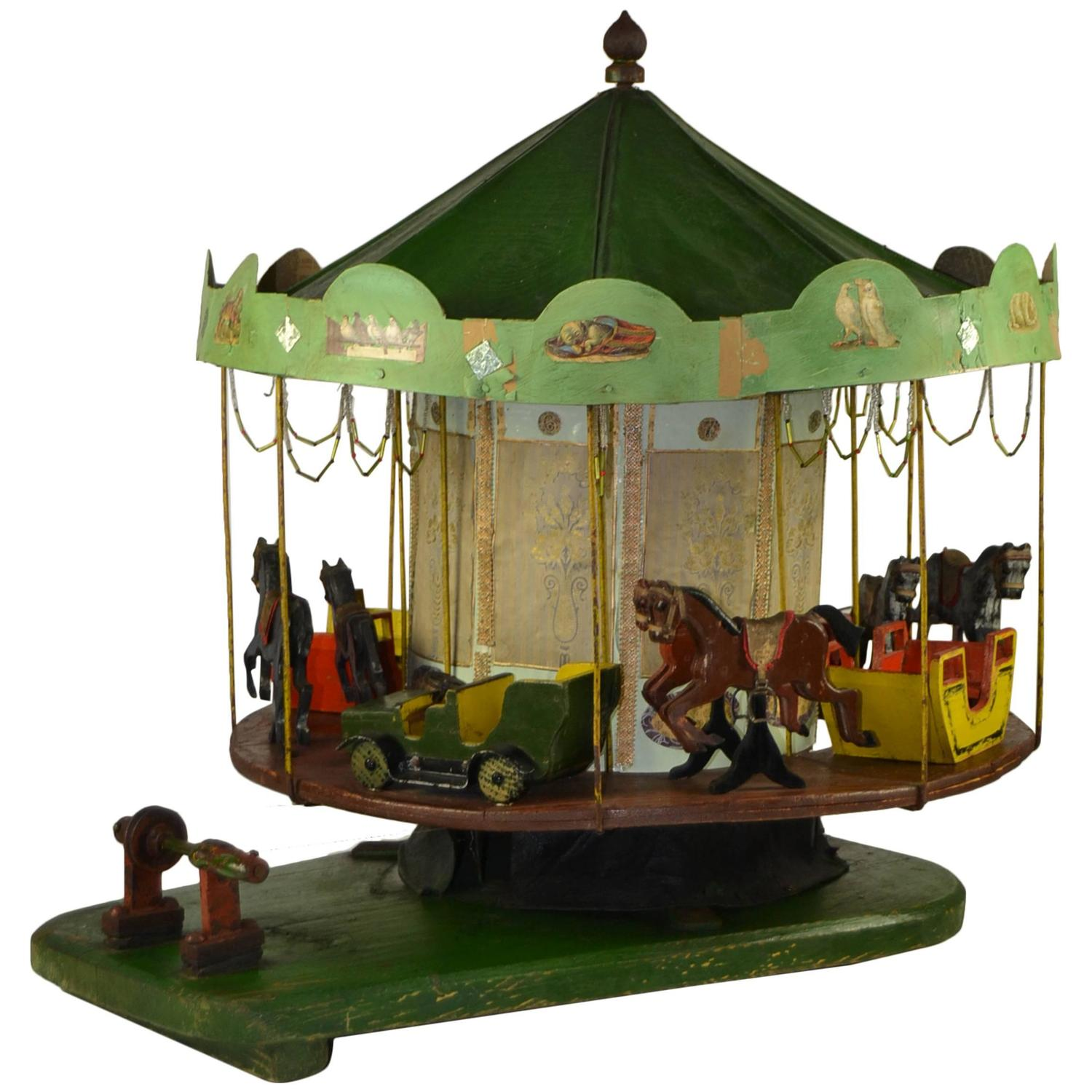 Impressive antique wooden rocking carousel horse sale price for antique diecast folk art merry go round carousel geotapseo Images