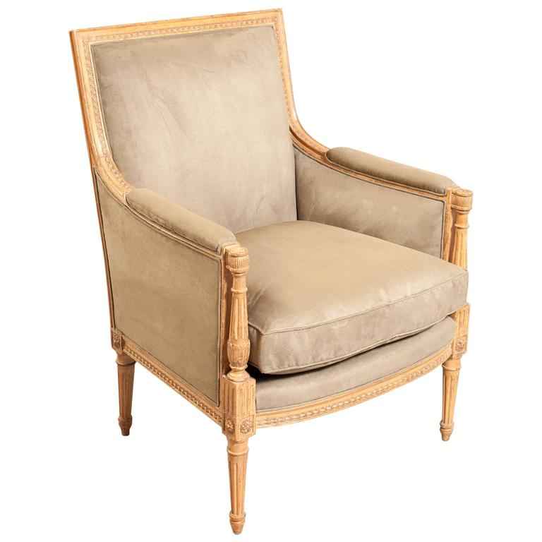 Faux Suede Directoire Style Bergere For Sale