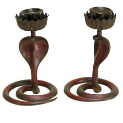 Pair of Cobra Candle Holders - France, Circa 1920s