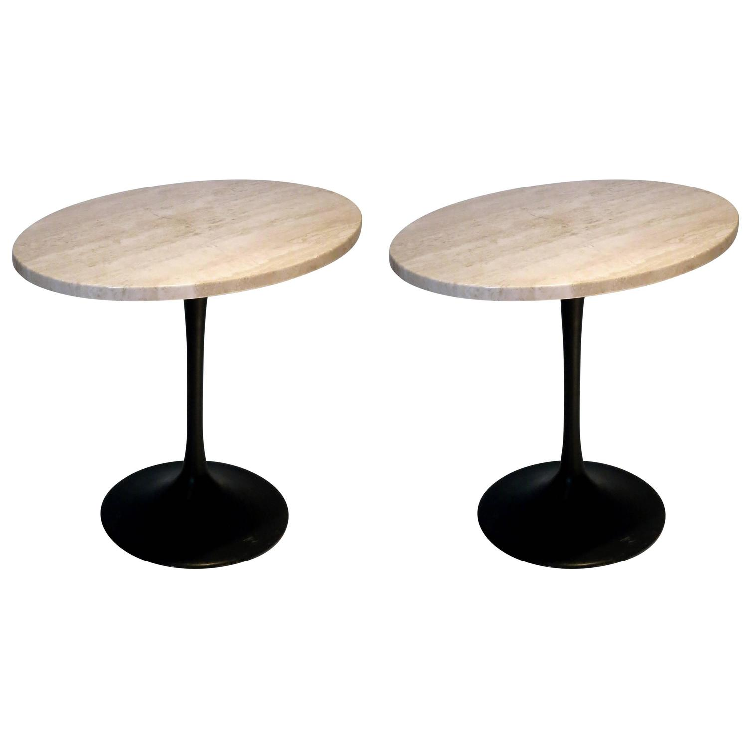 1970s pair of traventine and black enameled metal bases - Tables basses metal ...