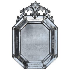 1880 Mirror Venice Octagonal has Front Wall Silvering Mercury Oxyded