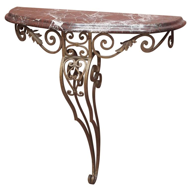 French Art Deco Iron Console with Marble Top 1