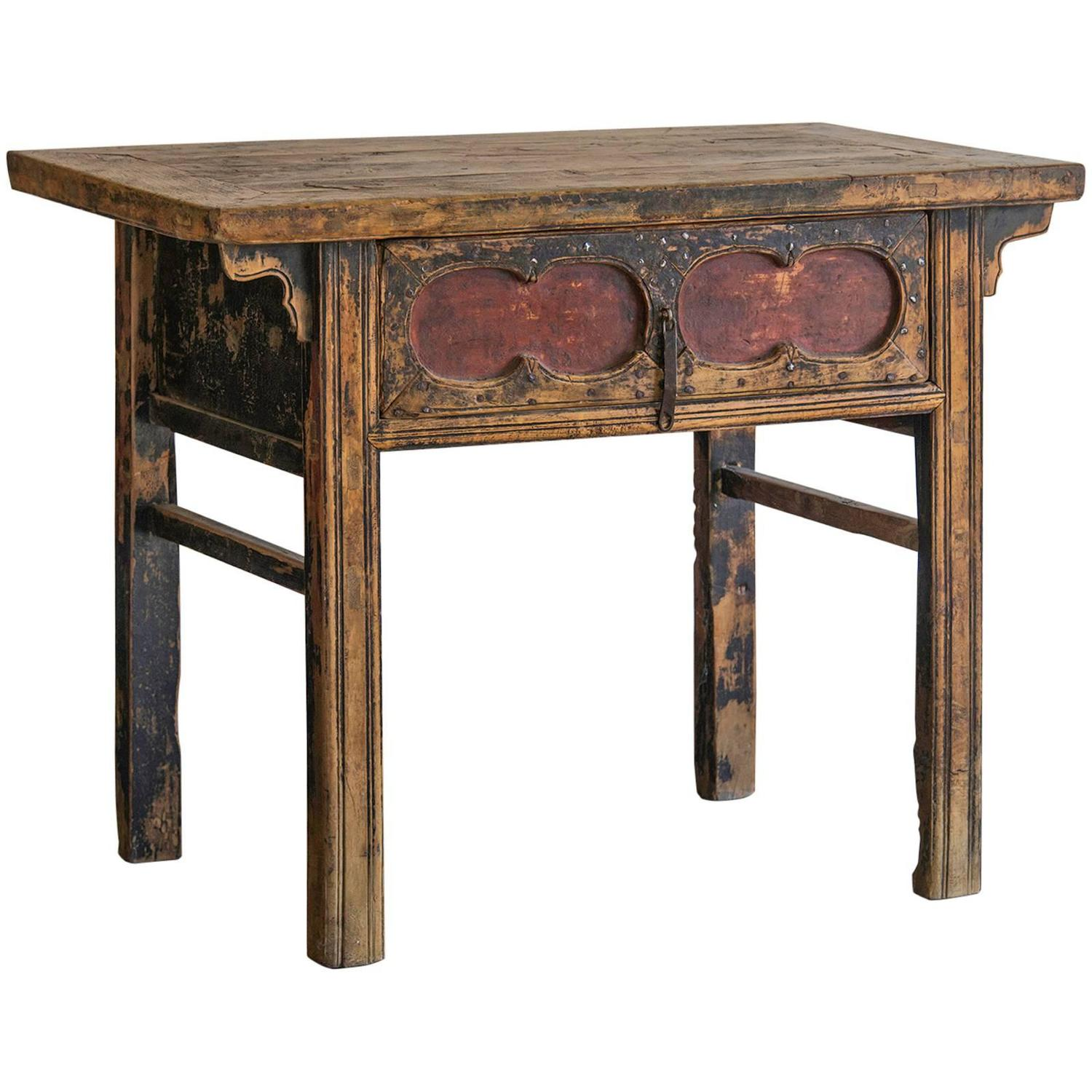 Antique chinese table long drawer kaung hsu period circa for Long side table
